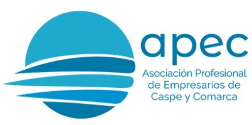 logotipo de APEC - Asociación Profesional de Empresarios y Comerciantes de Caspe y Comarca